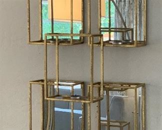 World Market Gold Mirror Cubical Wall Sconce