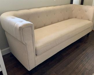 AS-IS Tufted Linen Sofa29x79x30inHxWxD