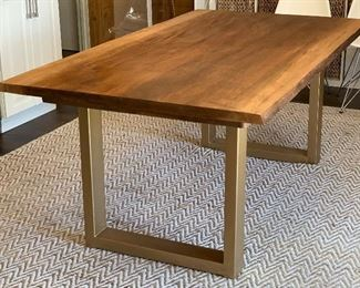 Live Edge Wood and Gold Metal Sloan Dining Table30x40x72inHxWxD