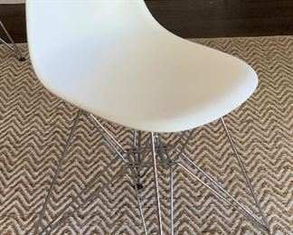 Clear & White Molded Plastic Side Chair with Eiffel Tower Base Eames Replica