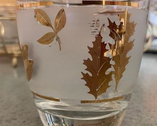 LIBBY Starlyte Gold Leaf Ice Bucket & 8 Glasses