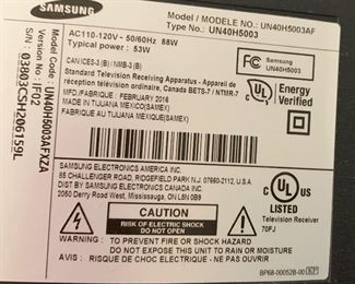Samsung 40in LED HD UN40H5003AFMount not included