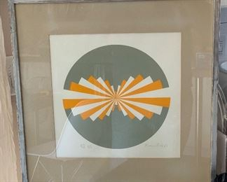 Signed Brian Rice lithograph Sphere