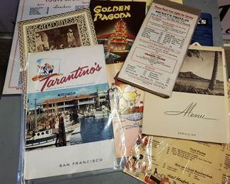 Vintage 40s/50s/60s Restaurant Menus