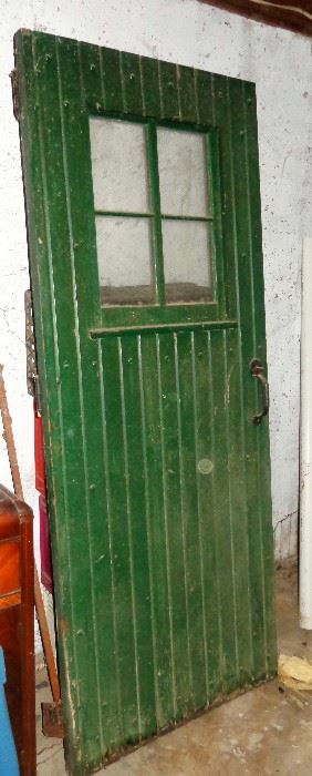 VINTAGE ARCHITECTURAL DOOR - BEAUTIFUL OLD GEEN PAINT