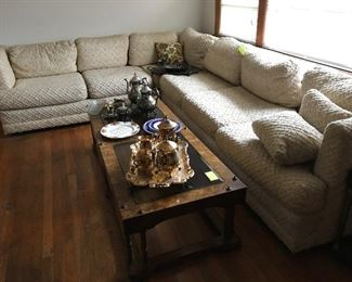 MCM sectional sofa, coffee table & end tables. Silver and gold plated coffee/tea sets or individual pieces