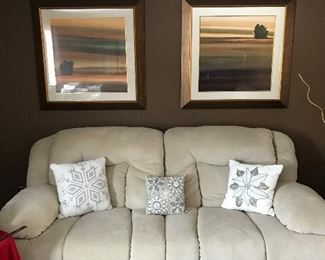 One of a three-piece Living room set w/ matching end tables and lamps And beautifully framed artwork