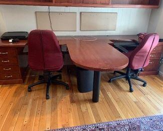 Large double desk unit