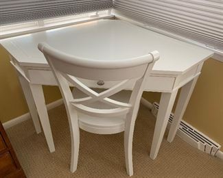 White corner desk or vanity unit with matching chair