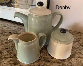Denby teapot, creamer and sugar holder