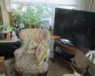 "50"" flat screen TV, pair of apholstered chairs"