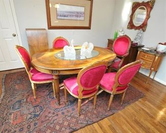 Gorgeous dining table with six chairs (only 5 shown)