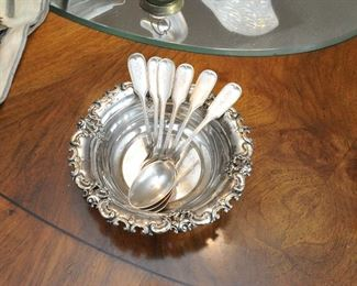 Sterling silver bowl and American coin silver spoons