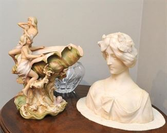 Royal Dux centerpiece and marble bust