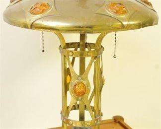 Stunning monumental brass chunk jewel 3-light lamp