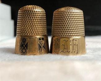 14k gold antique thimbles