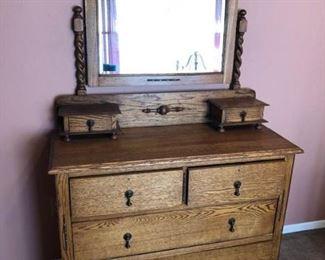 Antique Dresser Beveled Mirror