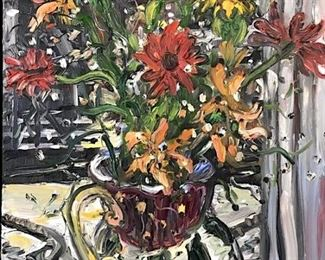 Chuck Connelly 1994 Falling Flowers Oil Painting