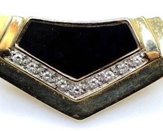 Art Deco Pendant Black Onyx W Diamond Accents