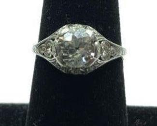 Platinum ring W 90 point Miners Cut Diamond