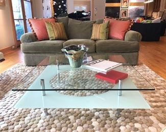 Crate & Barrel sculpted 'Pebble' Room-sized Rug & Italian Contemporary Glass and Metal Coffee Table.