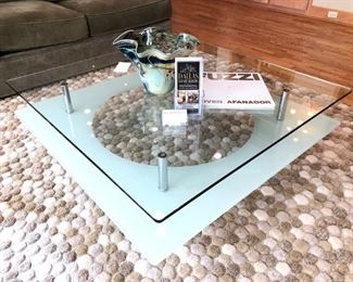Italian Contemporary Glass and Metal Coffee Table.