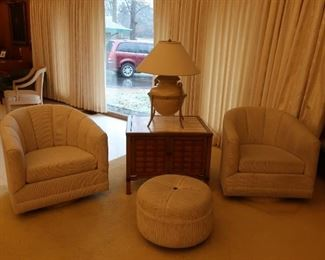 2 barrel chairs and matching hassock, lamp,mid century lamp table