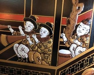 Close up of the 8 panel Asian screen