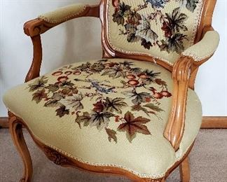 Needle point arm chair