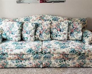 Floral sofa, pair end tables & lamps