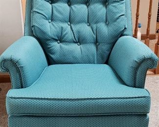 One of pair swivel occasional chairs