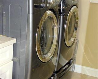 LG Front Load Washer & Dryer with Storage Pedestals