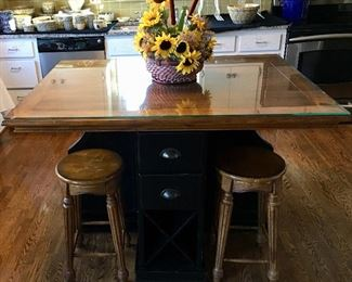 Movable Kitchen Island w/ 4 Stools and Storage