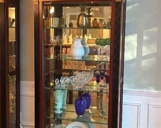 A Pair of Beautiful Mahogany Display/China Cabinets with Gold and Ebony Detailing, Lovely! all contents are also for sale..