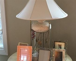 Side Table, Lamps and Frames