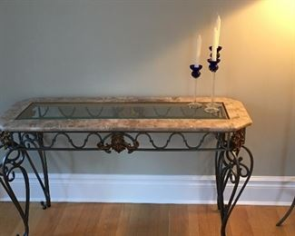 Console Table, Iron and Stone