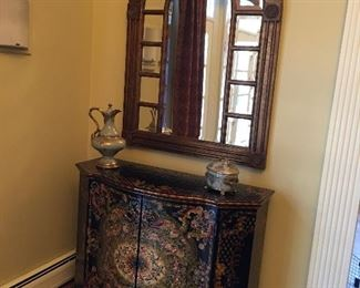 Hand Painted Bar Cabinet, Magnificent!! Semi-circle Mirrored Frame with Beveled Panes....Super