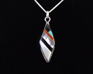 .925 Sterling Silver Artist Signed Natural Inlayed Stone Zuni Pendant Necklace