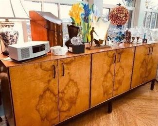 Milo Baughman for Directional Sideboard/Credenza. Butterflied Burled Walnut with butterflied walnut interior.