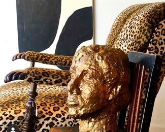 Leopard vintage large chair 1950's , large gold head bust.