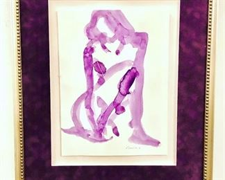 Contemporary nude purple vintage nude painting. Signed Swenson.