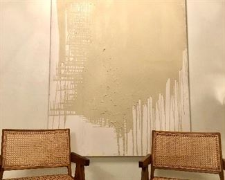 Large contemporary abstract painting. 48w x 72h. Signed Abstract, spit of mid century modern chairs.