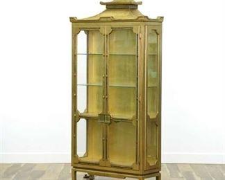 Mid Century Gilt Asian Curio Cabinet W Light