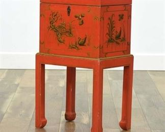 Mid Century Asian Red & Gold Storage Chest W Stand