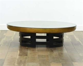 Mid Century Asian Lotus Flower Coffee Table W Glass Top