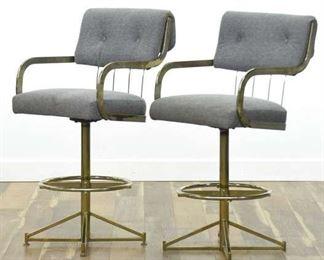 Pair Of Milo Baughman Style Brass Art Deco Bar Stools