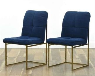 Pair Of Milo Baughman Navy Vintage Dining Chairs
