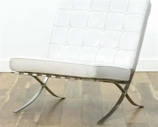 White Modernist Barcelona Style Lounge Chair