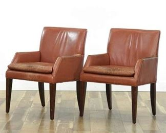 Pair Of Red Leather Mid Century Style Armchairs