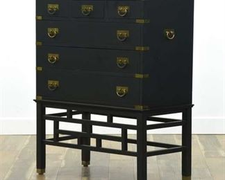 Permacraft Black Asian Campaign Tall Dresser Chest